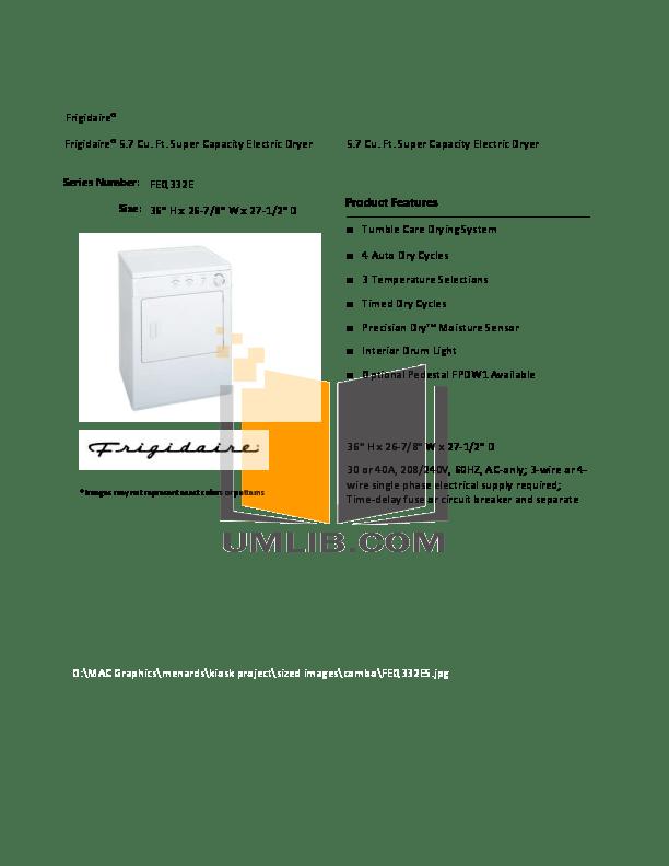 Download free pdf for Frigidaire FEQ332ES0 Dryer manual