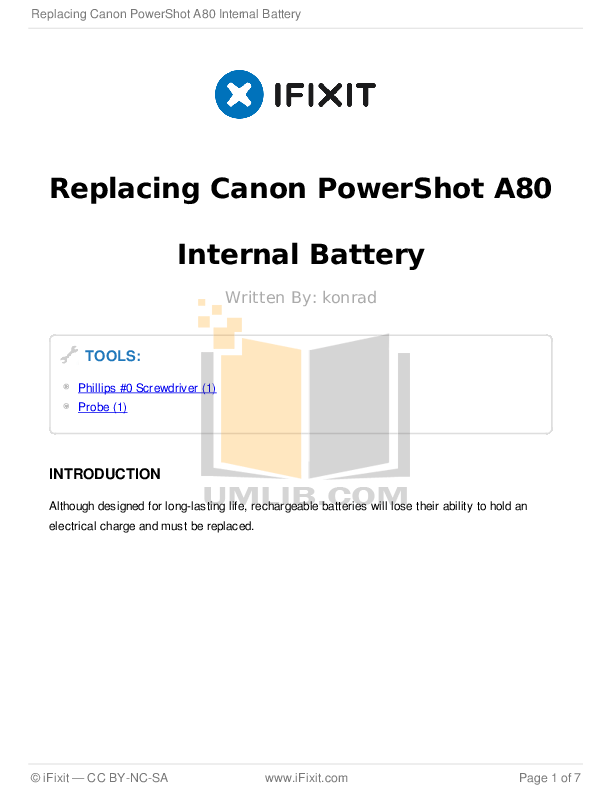 Download free pdf for Canon Powershot A80 Digital Camera