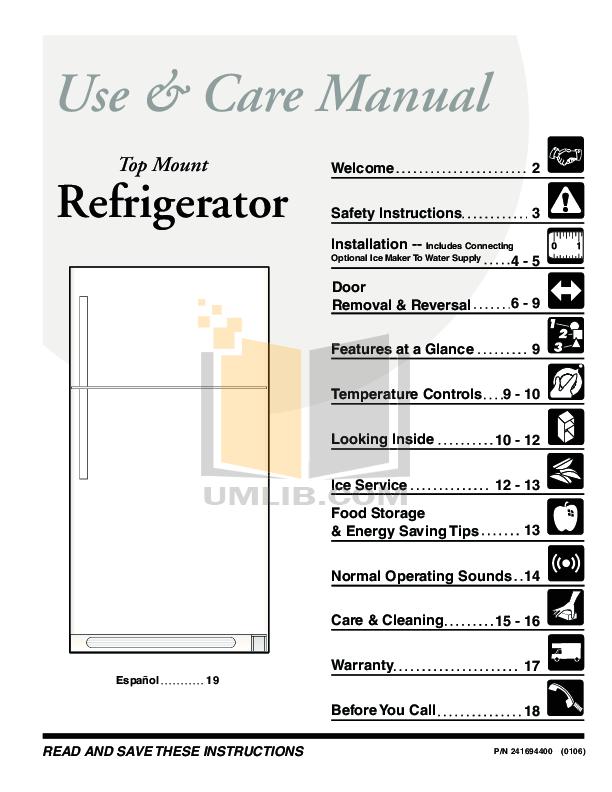 Download free pdf for Frigidaire FRT18S6J Refrigerator manual