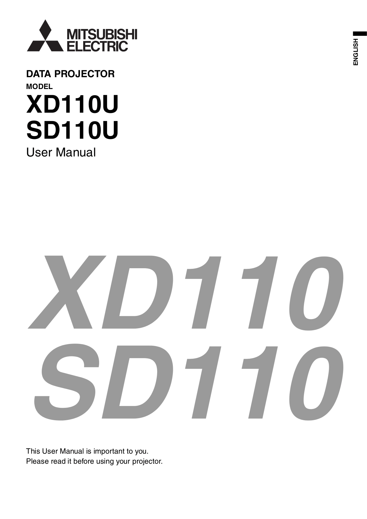Download free pdf for Mitsubishi SD110U Projector manual