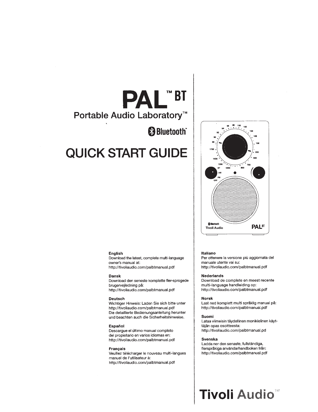 Download free pdf for Tivoli PAL Radio manual
