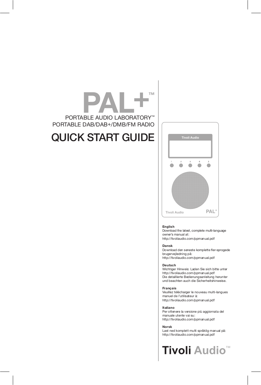 Download free pdf for Tivoli PAL Radio manual