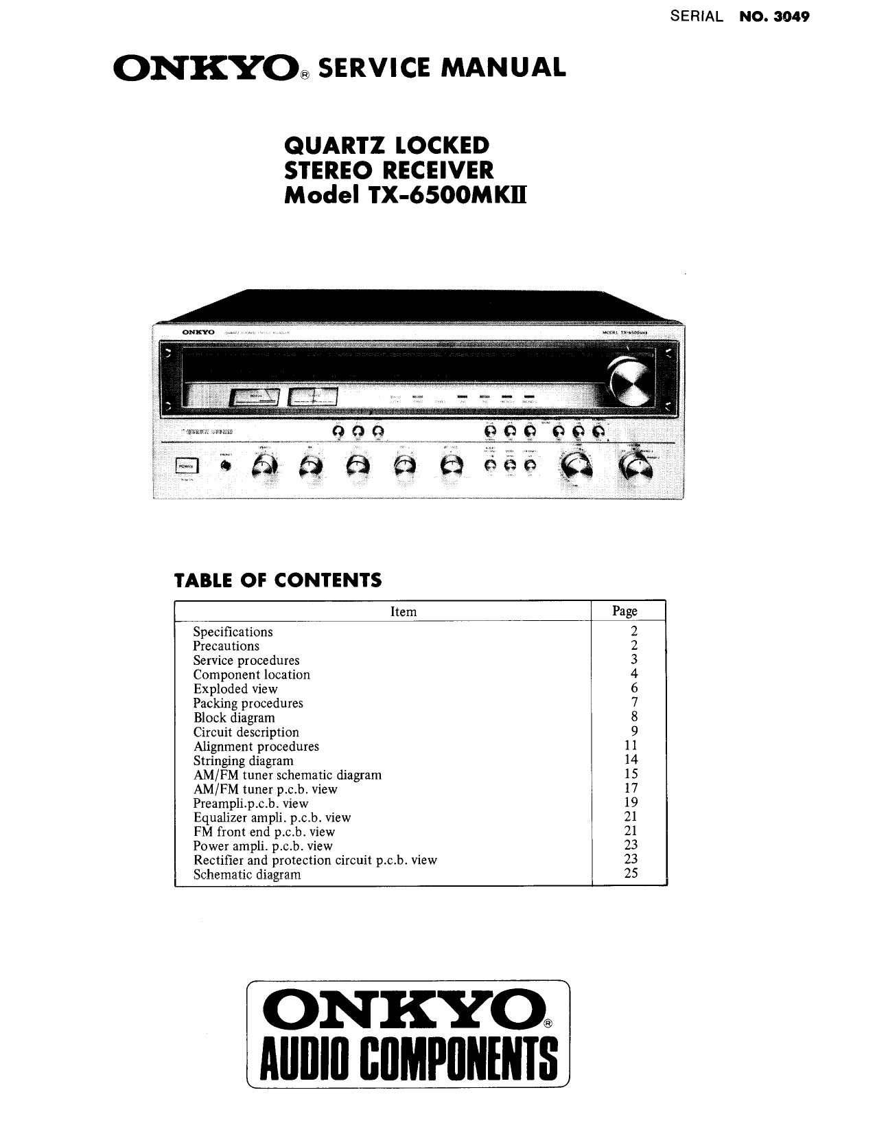 Download free pdf for Onkyo TX-904 Receiver manual