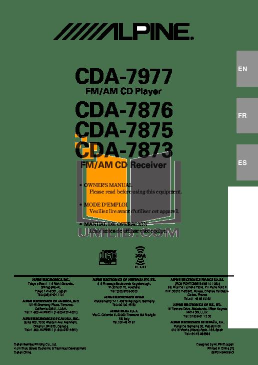 Download free pdf for Alpine CDA-7977 CD Player manual
