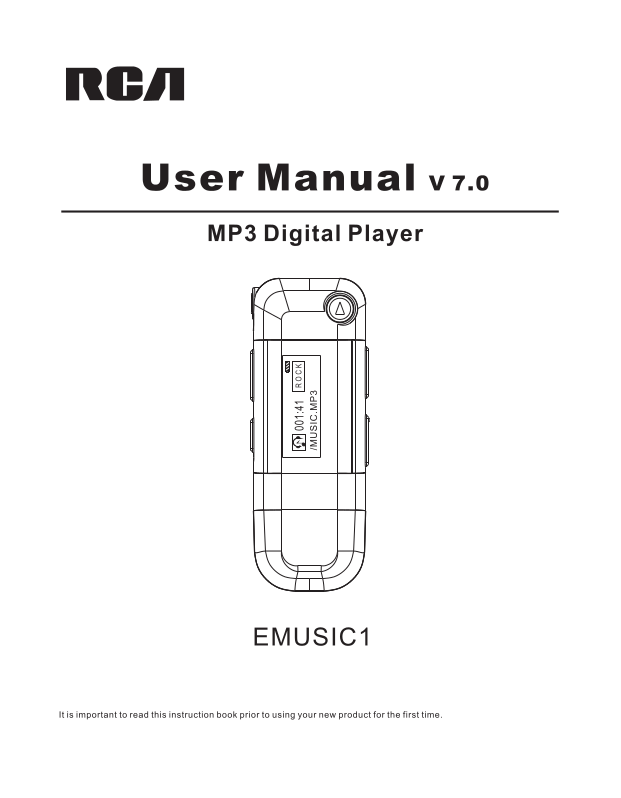 Download free pdf for RCA eMusic1 MP3 Player manual