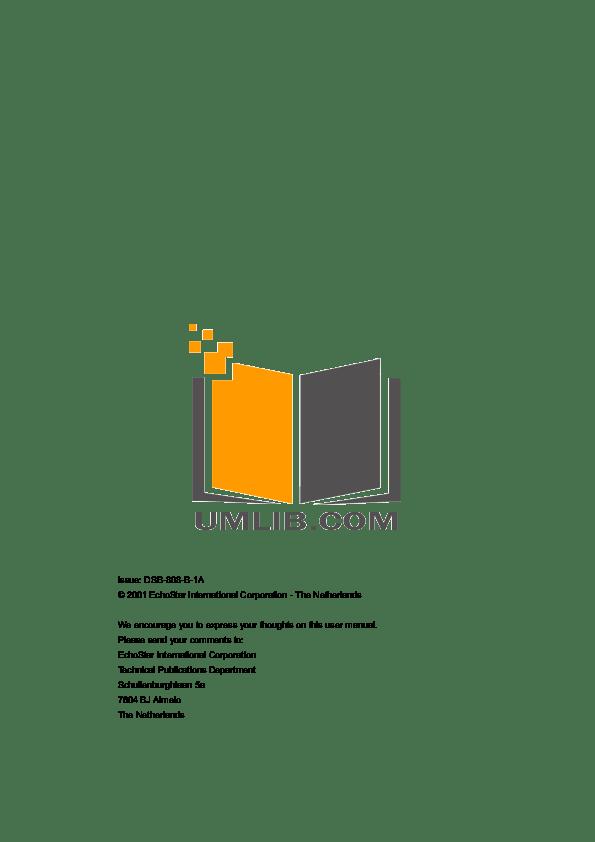 PDF manual for Echostar Satellite Receiver DSB-808 2Ci