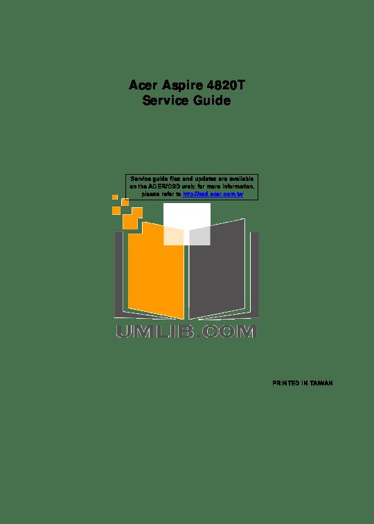 Download free pdf for Acer Aspire TimelineX 4830T Laptop