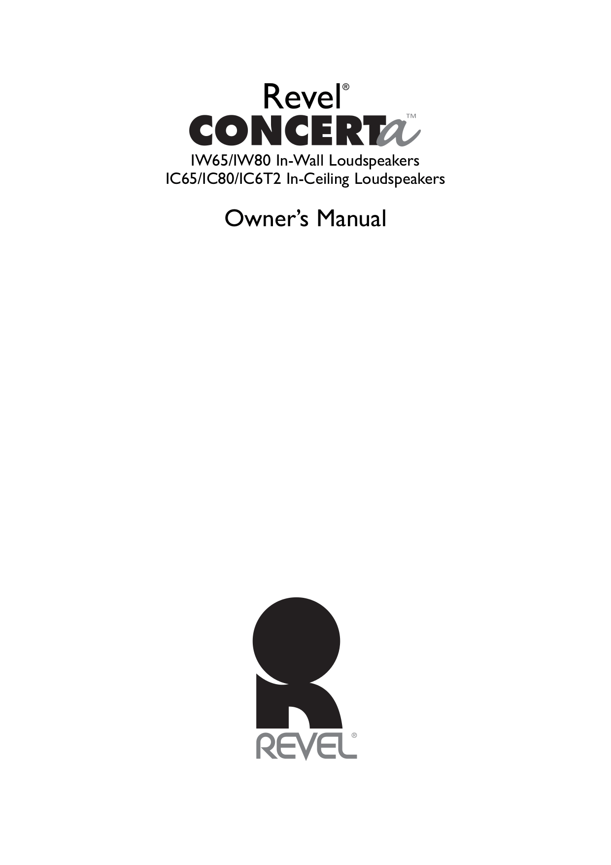 Download free pdf for Revel Concerta IW65 Speaker manual