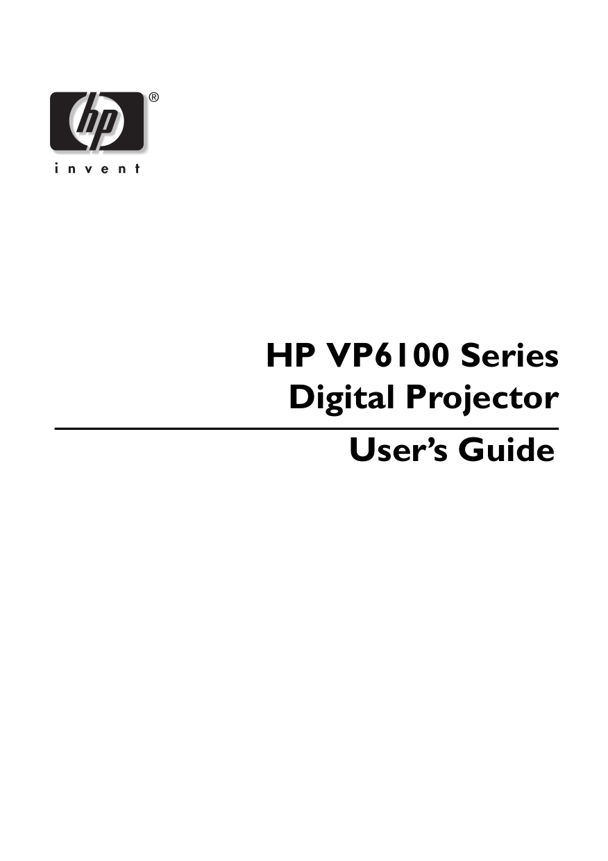 Download free pdf for HP vp6110 Projector manual