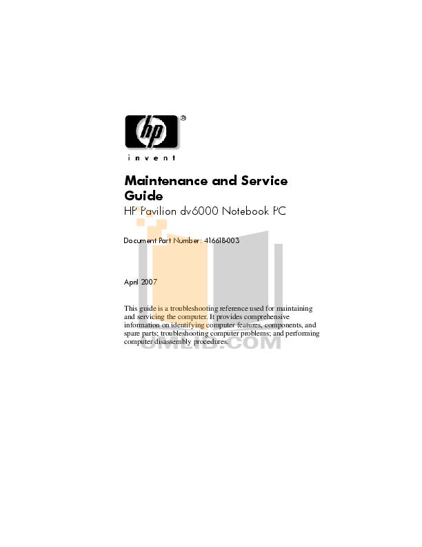 Download free pdf for HP Pavilion a6000 Desktop manual