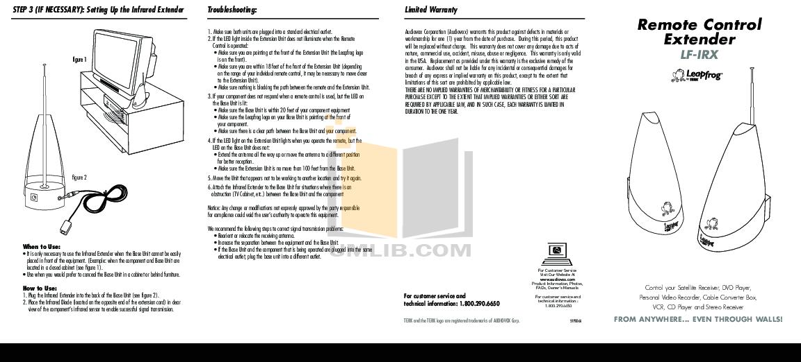Download free pdf for Audiovox LF-RF Remote Control manual