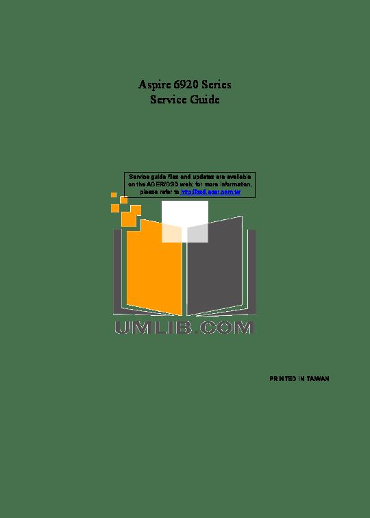 Download free pdf for Acer Aspire 6920 Laptop manual