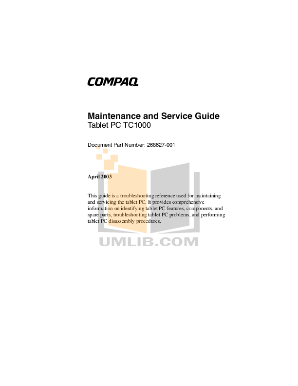PDF manual for HP Laptop Compaq tc1000