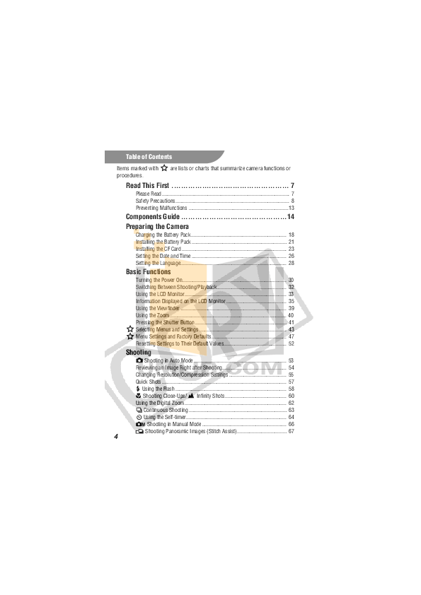 PDF manual for Canon Digital Camera IXUS 70