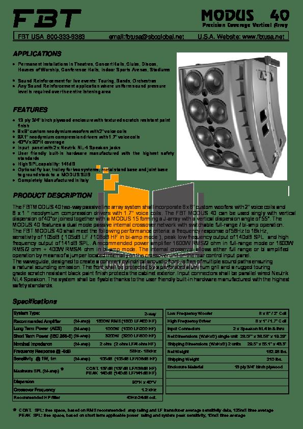 Download free pdf for Fbt MODUS SUB Subwoofer manual