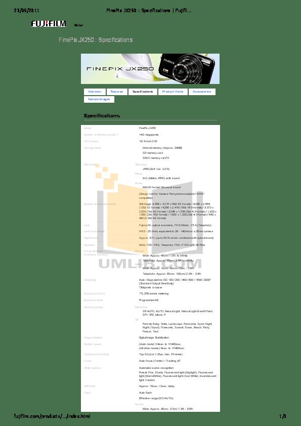 Download free pdf for FujiFilm Finepix JX250 Digital