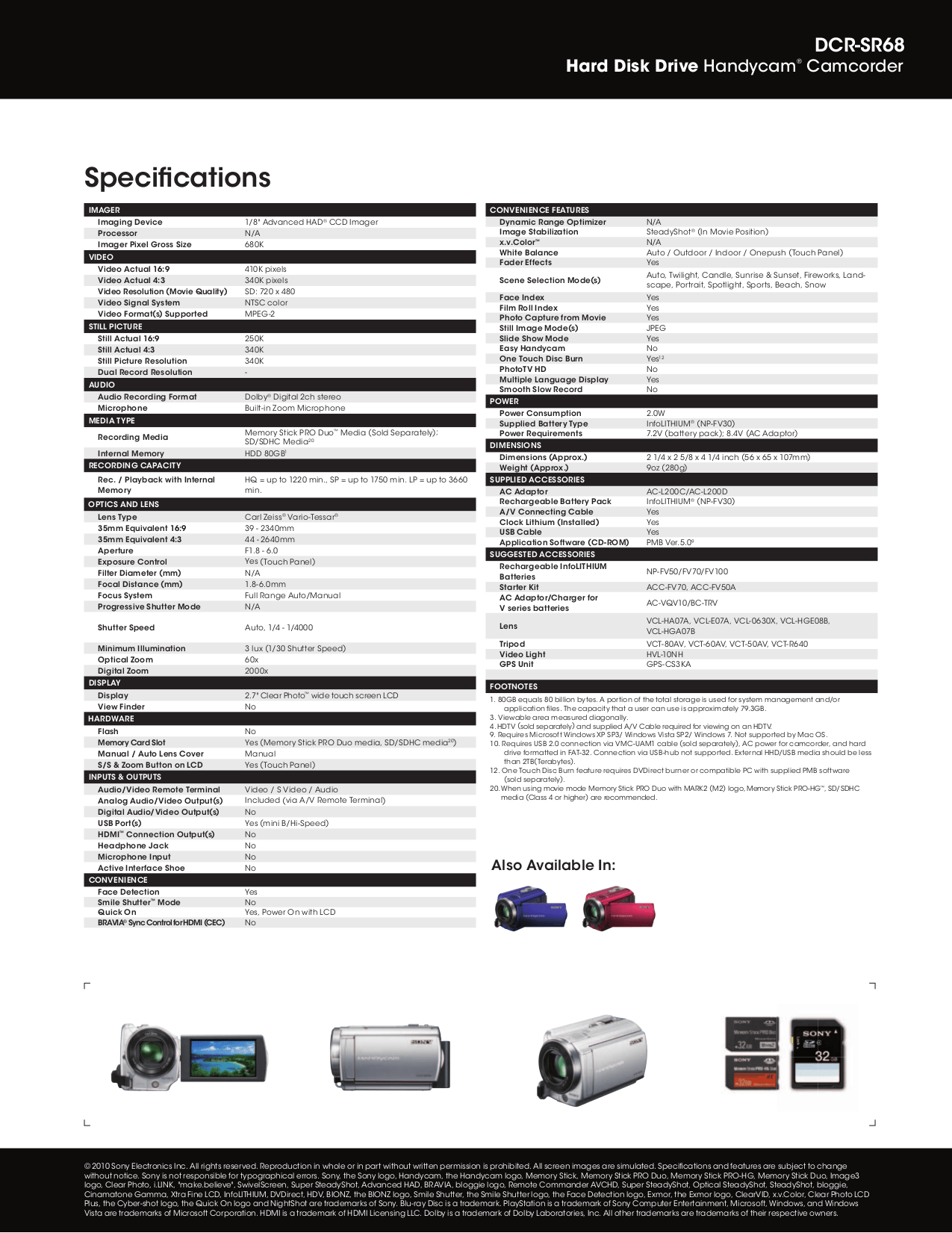 PDF manual for Sony Camcorders Handycam DCR-SR68