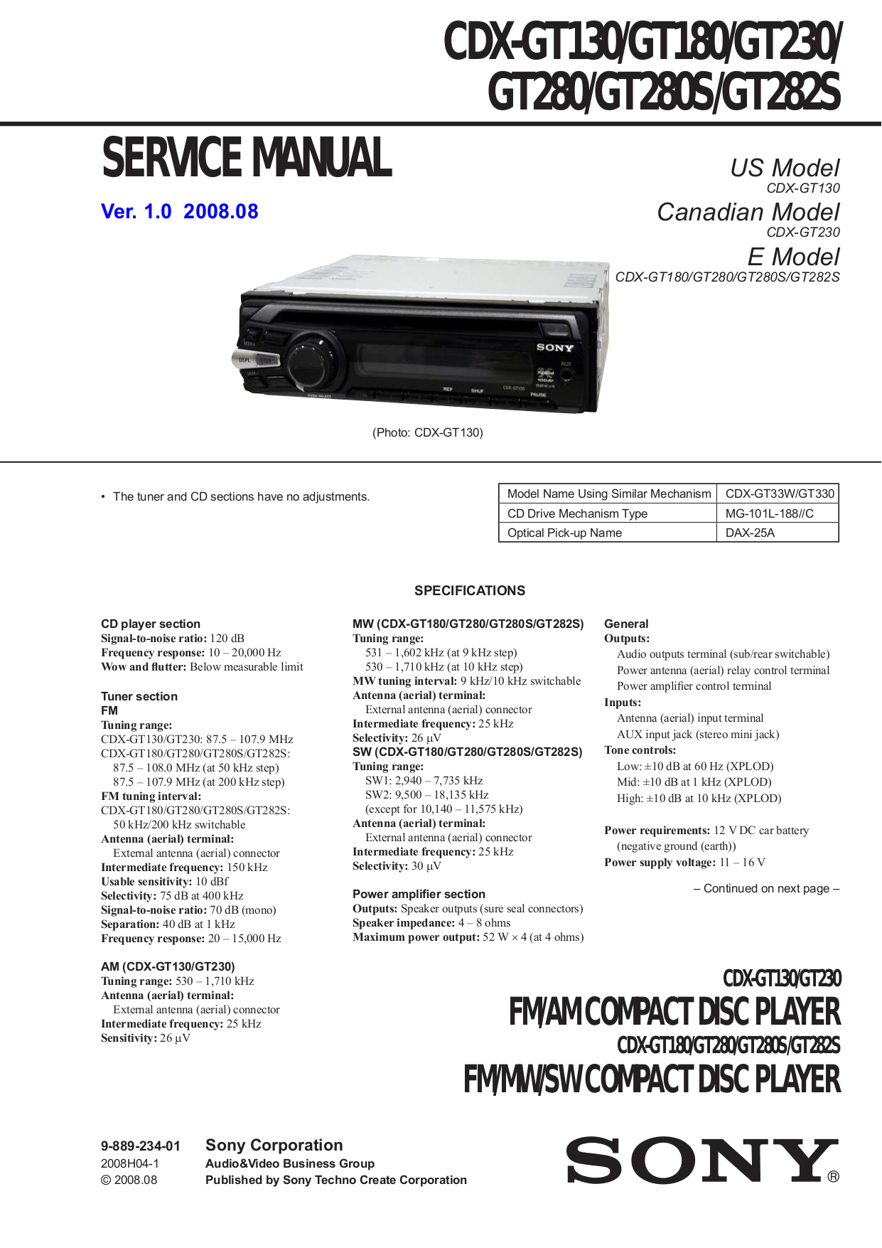 hight resolution of pdf for sony car receiver xplod cdx gt130 manual