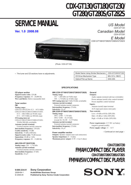 small resolution of pdf for sony car receiver xplod cdx gt130 manual