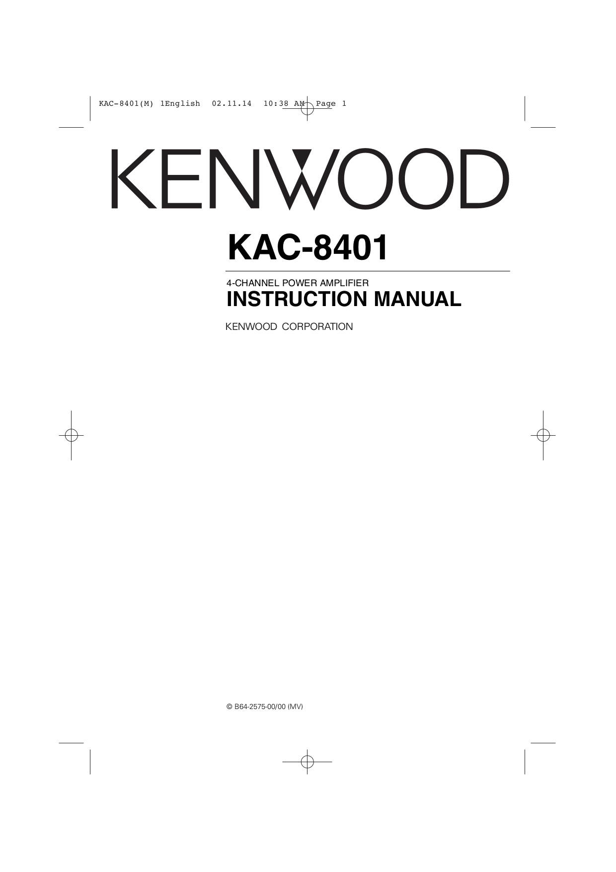Download free pdf for Kenwood KAC-8401 Car Amplifier manual