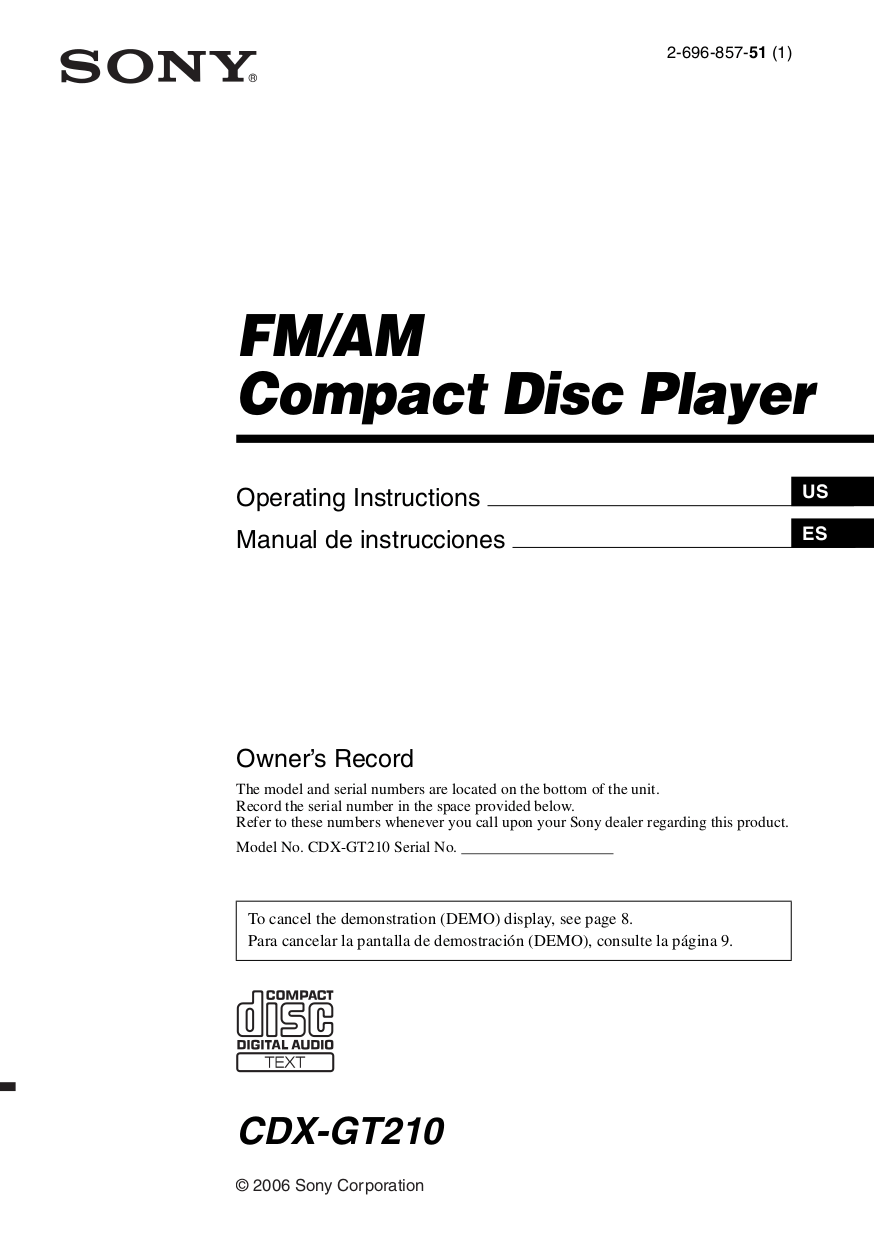 medium resolution of pdf for sony car receiver cdx gt210 manual