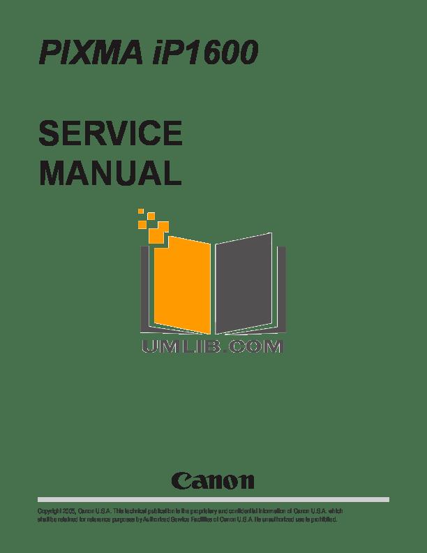 Download free pdf for Canon PIXMA iP1600 Printer manual