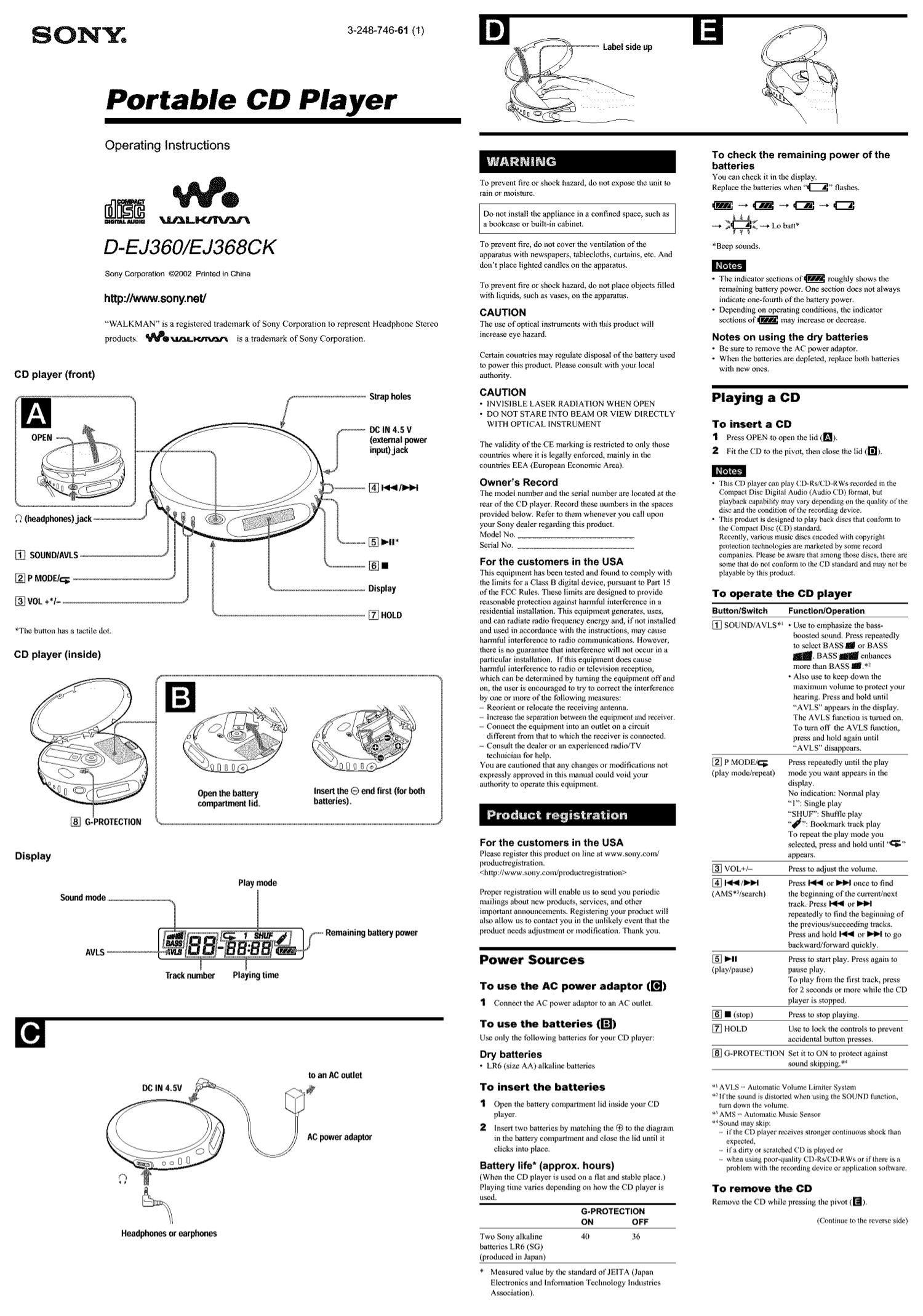 Download free pdf for Sony Walkman D-EJ368CK CD Player manual