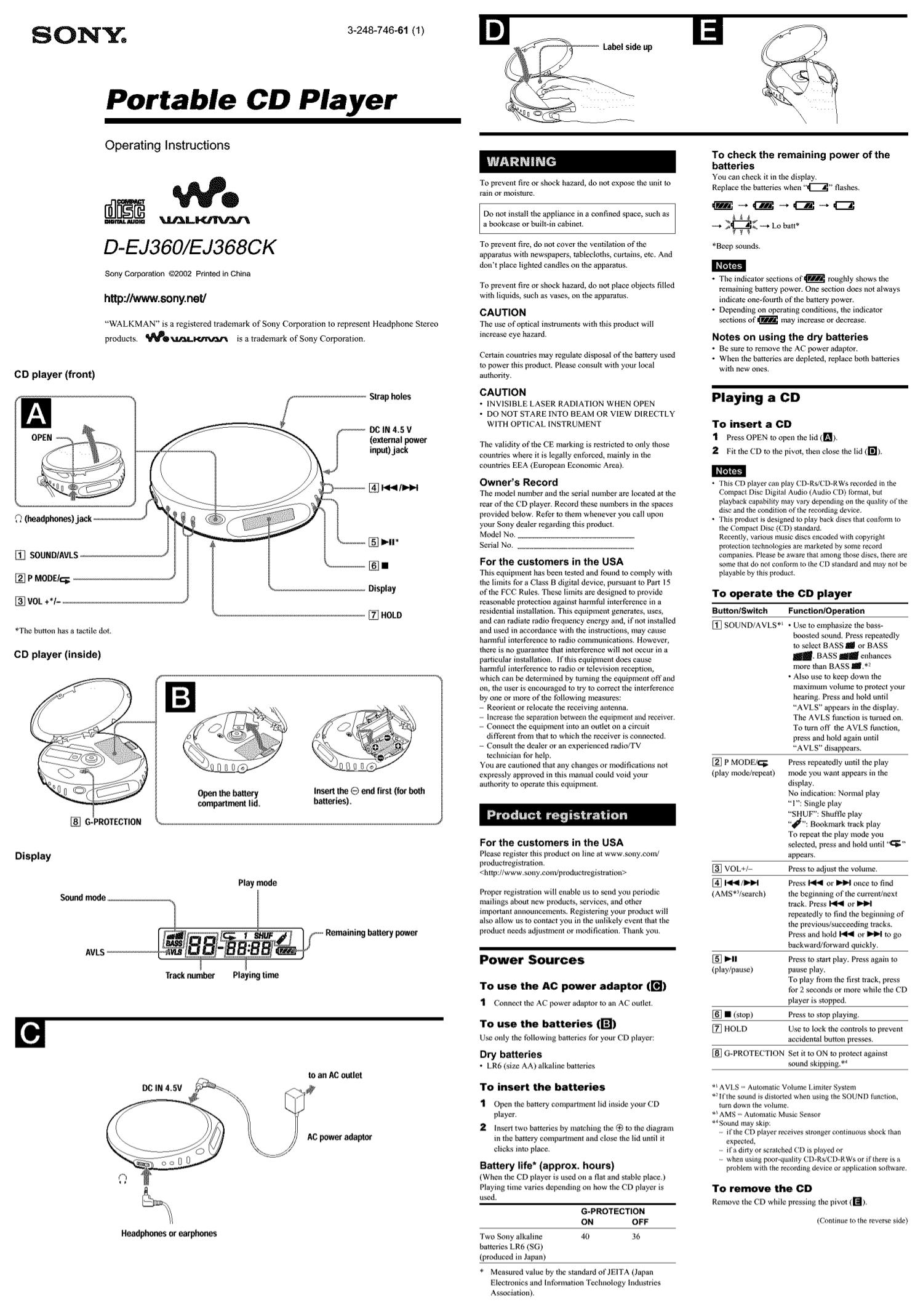 Download free pdf for Sony Walkman D-EJ368CK CD Player manual