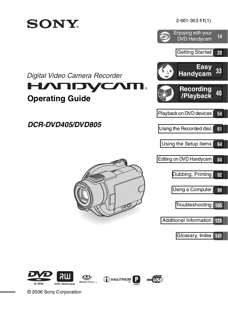 Download free pdf for Sony Handycam DCR-DVD805 Camcorders