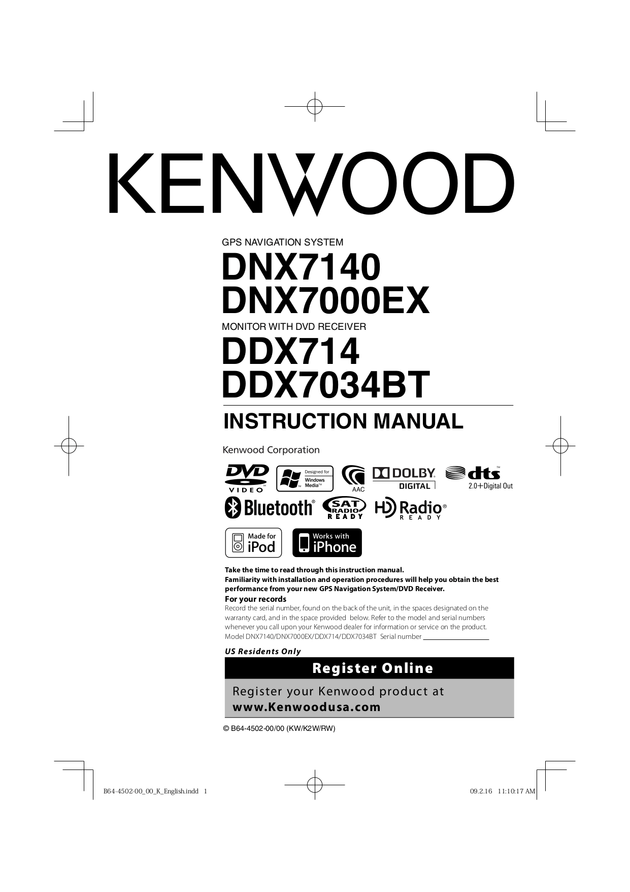 Download free pdf for Kenwood KNA-RCDV330 Remote Control