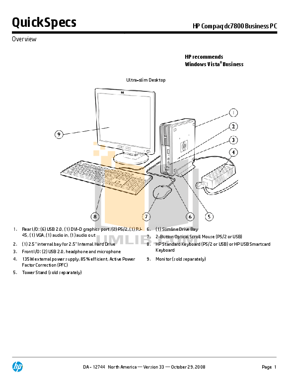 Download free pdf for HP Compaq dc7800 USDT Desktop manual