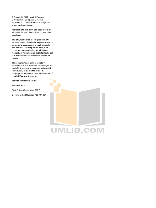 PDF manual for HP Desktop Compaq dc7800 USDT