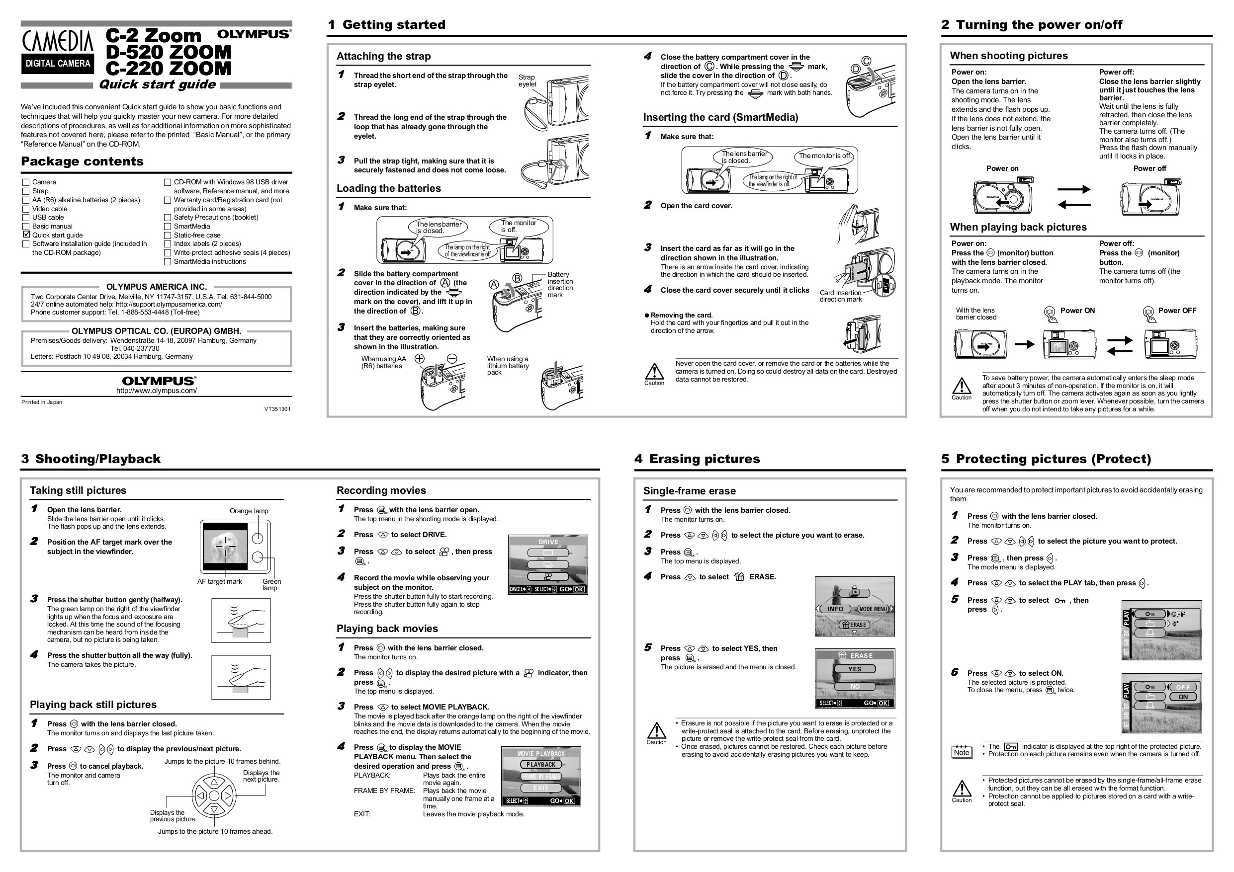 Download free pdf for Olympus CAMEDIA C-220 Zoom Digital