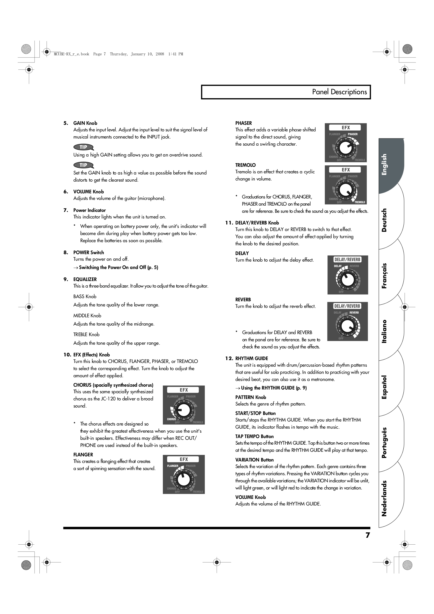 PDF manual for Roland Amp MICRO CUBE