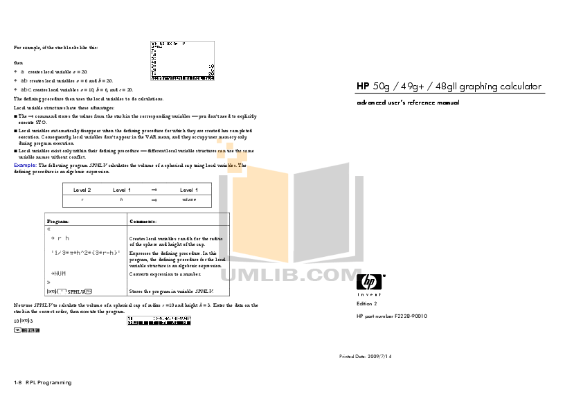 Download free pdf for HP 50G Calculator manual