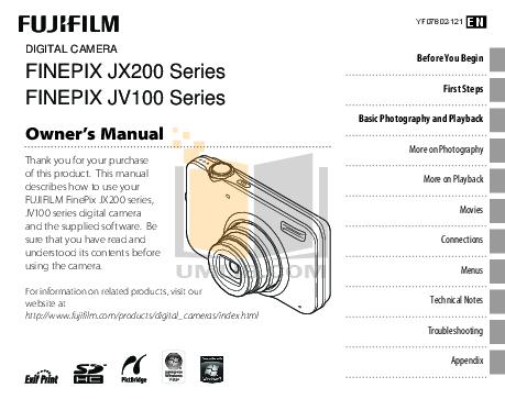 Download free pdf for FujiFilm Finepix JV100 Digital