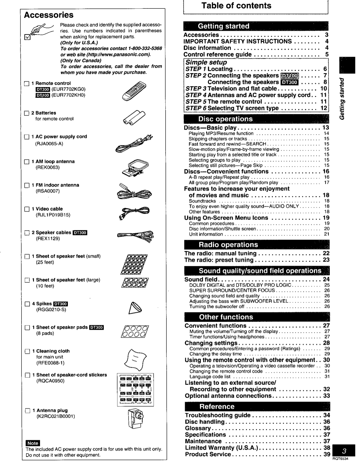 PDF manual for Panasonic Home Theater SC-DT100