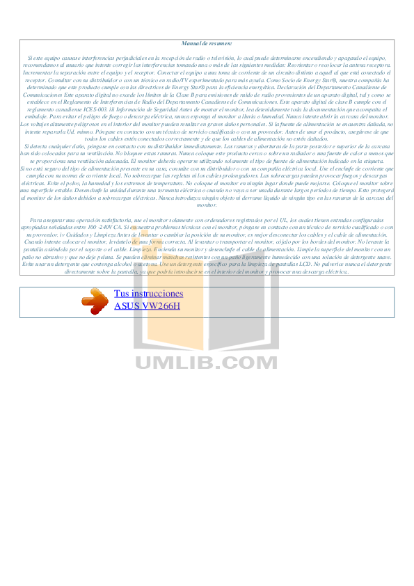 PDF manual for Asus Monitor VW266H