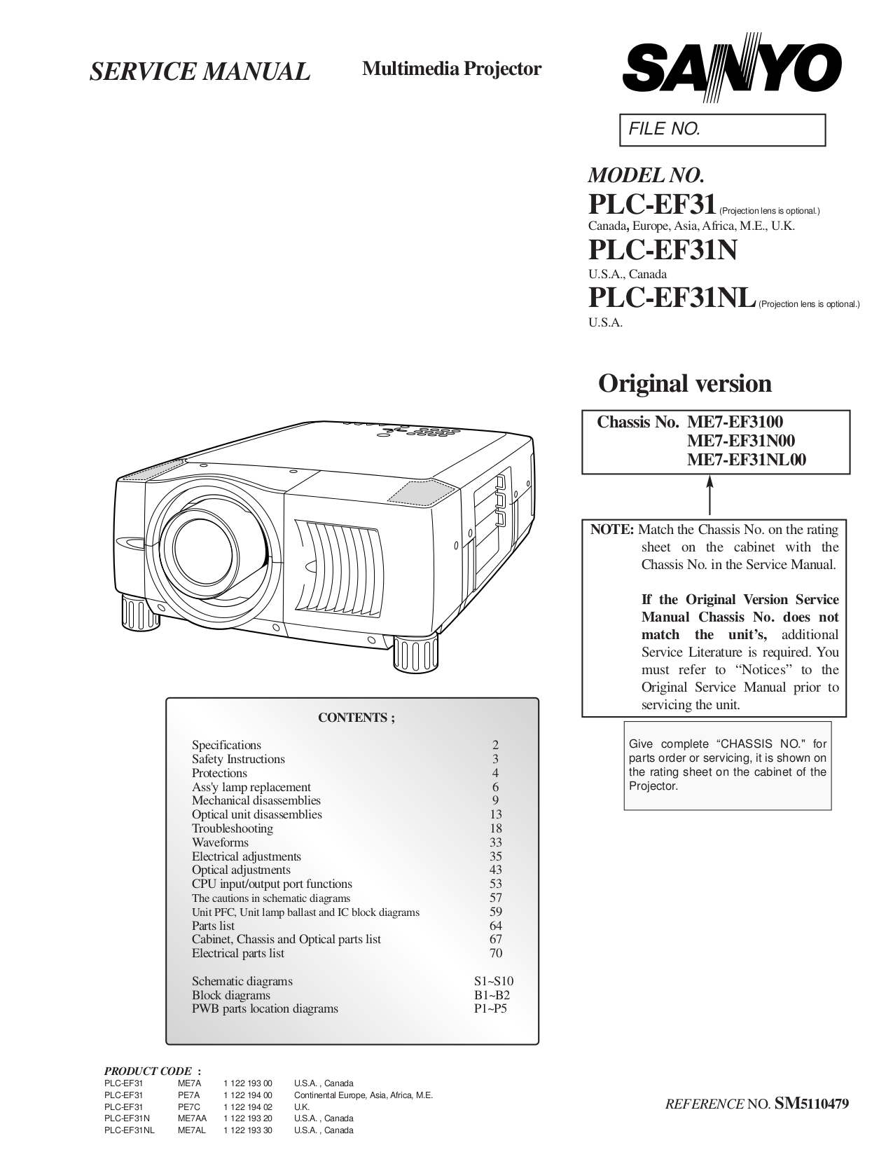 Download free pdf for Sanyo PLC-EF31 Projector manual