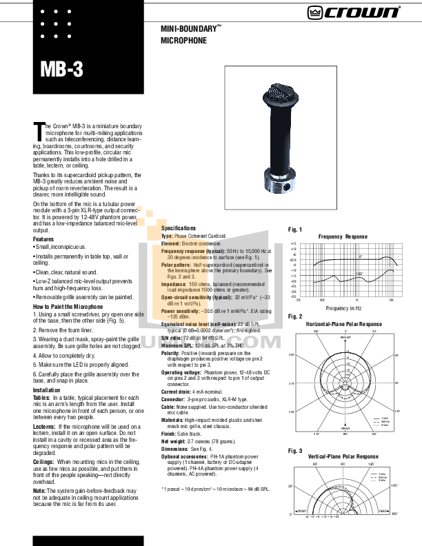 Download free pdf for Crown CM-30 Microphones Other manual