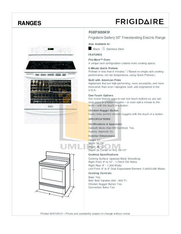 PDF manual for Frigidaire Range Gallery FGEF3044KF