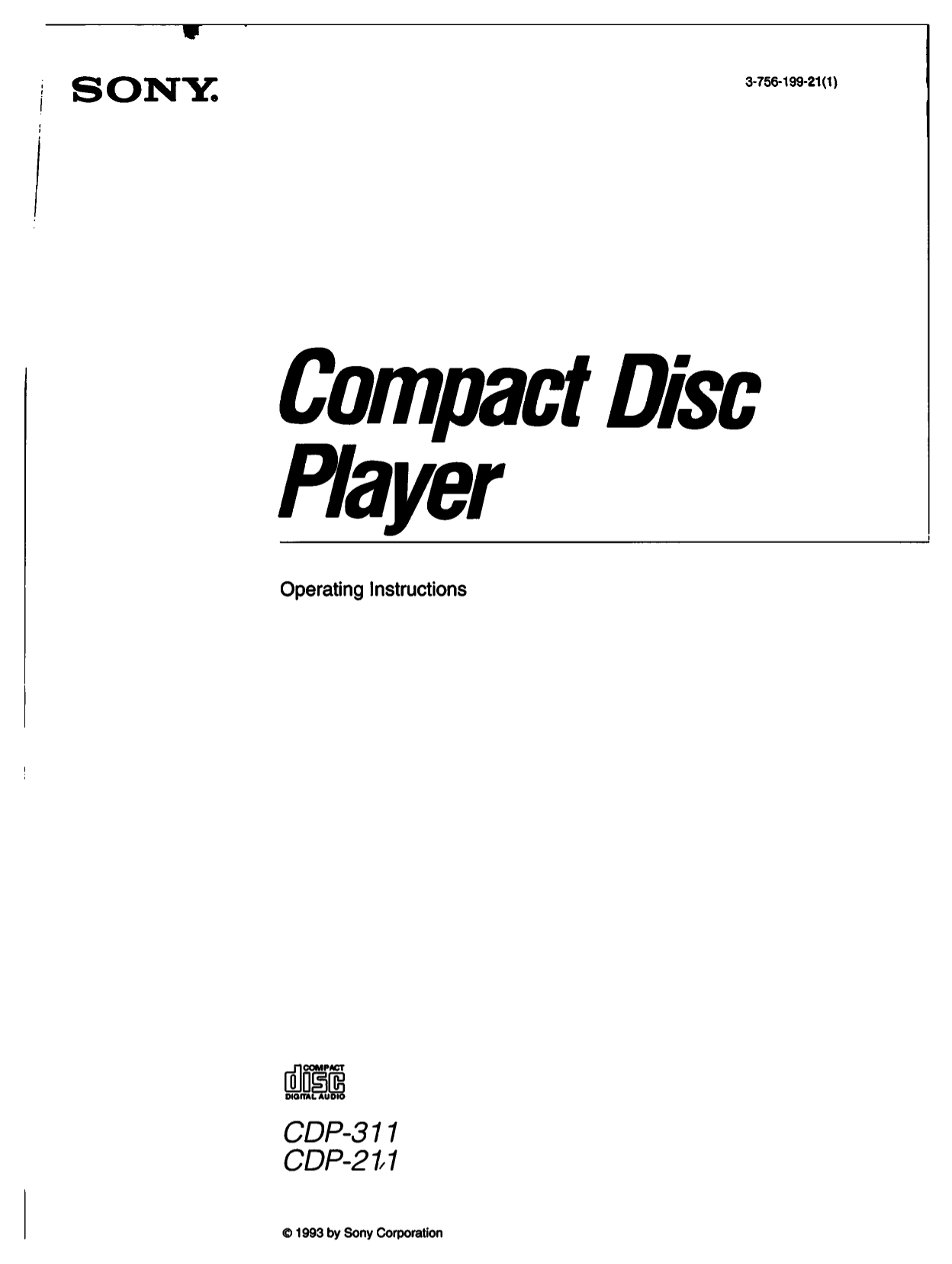 Download free pdf for Sony CDP-311 CD Player manual