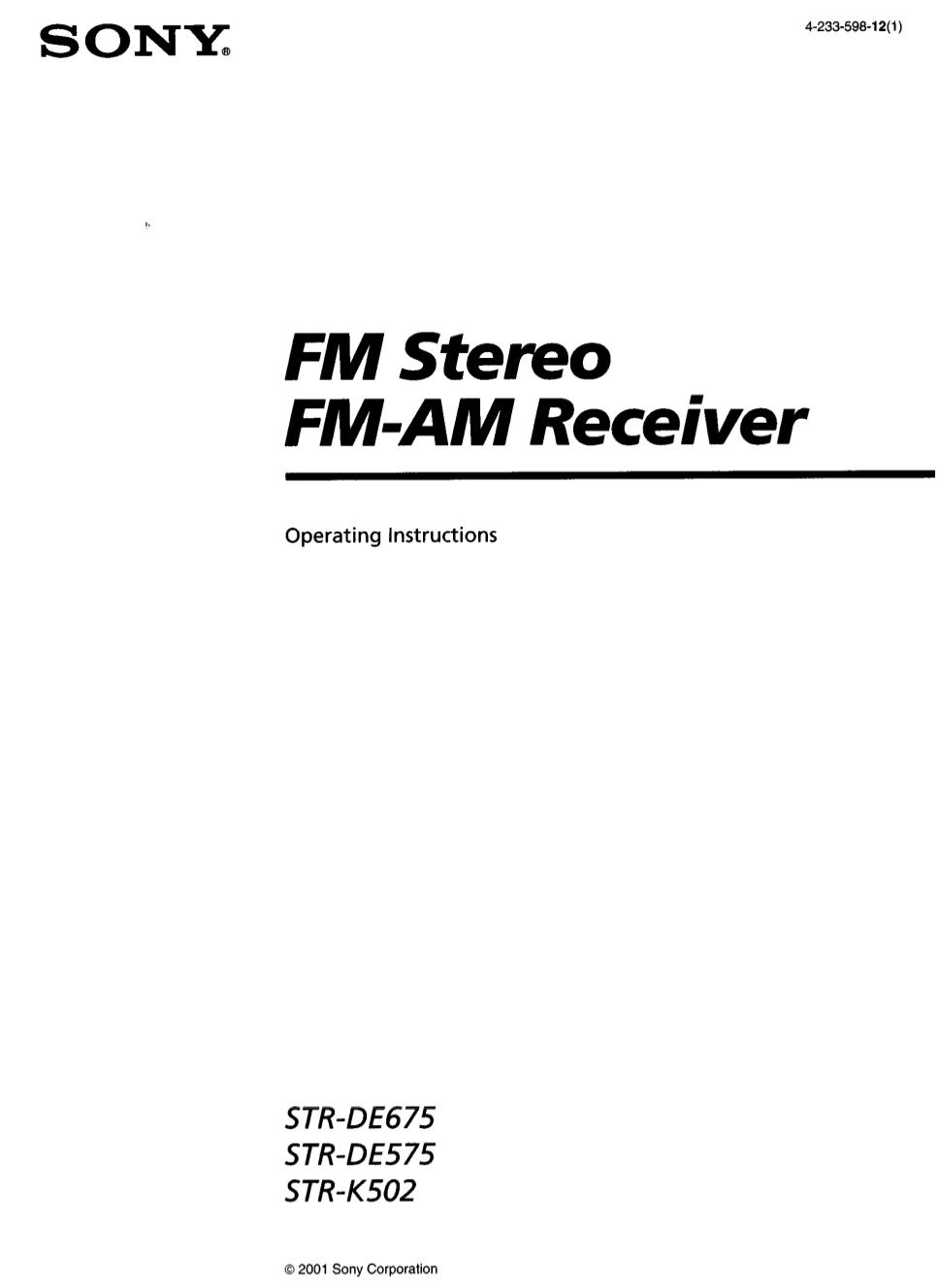 Download free pdf for Sony STR-DE675 Receiver manual