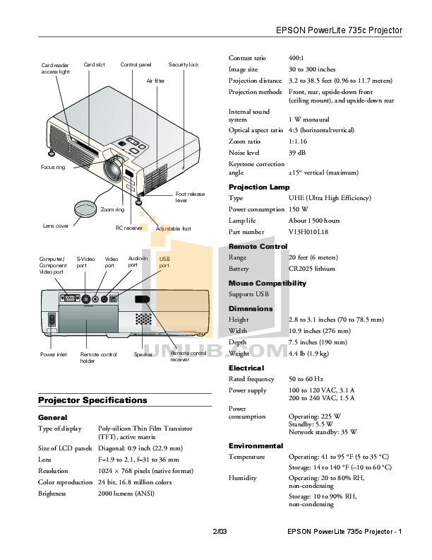 Download free pdf for Epson PowerLite 735c Projector manual