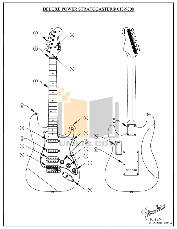 PDF manual for Fender Guitar Deluxe Power Stratocaster