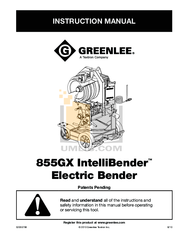 PDF manual for Greenlee Other 855 Benders