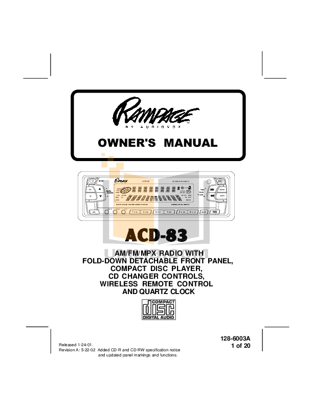 Download free pdf for Audiovox ACD-23 Car Receiver manual