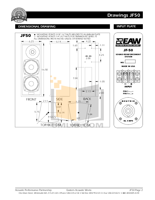PDF manual for Eaw Speaker System JF50
