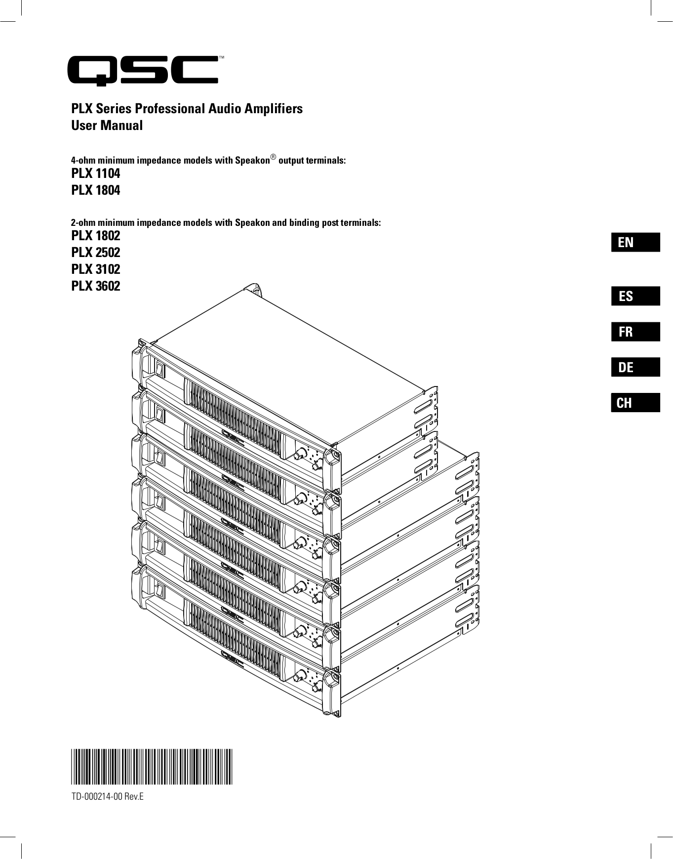 Download free pdf for QSC PLX 3102 Amp manual