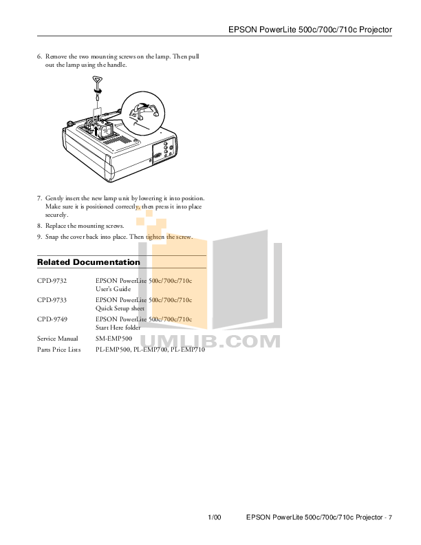 PDF manual for Epson Projector PowerLite 500c